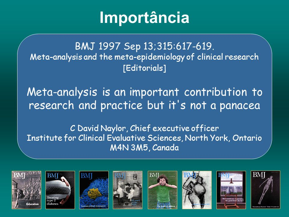 Importância BMJ 1997 Sep 13;315:617-619. Meta-analysis and the meta-epidemiology of clinical research [Editorials]